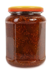 Jar of homemade fig jam or marmalade