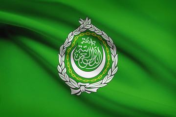 Series of ruffled flags. League of Arab States.