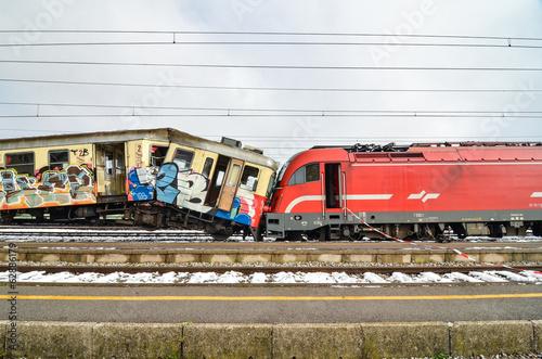 canvas print picture Train crash