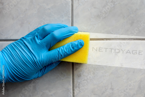 Sponge cleaning bathroom with french lettering