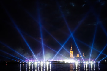 light show on the Neva
