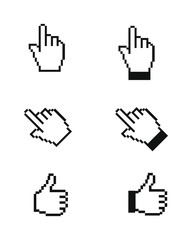 Hand pixelated cursors/pointers