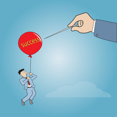 Businessman flying away by using success balloon