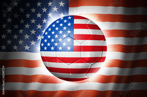 Soccer football ball with USA flag