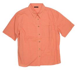 Man's orange cotton plaid shirt