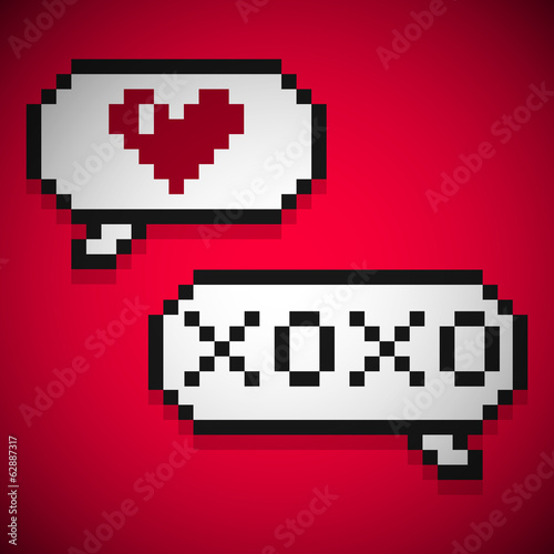 Pixellated speech bubbles. Romantic conversation