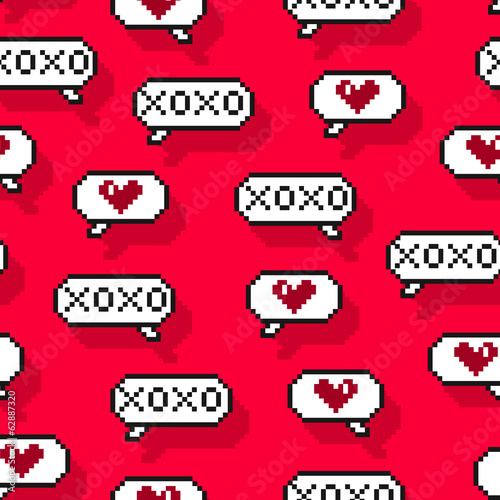 Seamless pattern with pixellated speech bubbles romantic chat