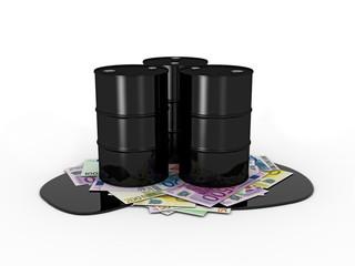 Ölfässer auf Geldscheinen