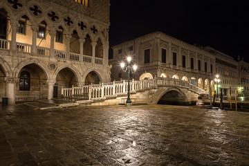 night view of Ponte della Paglia. Venice. Italy.