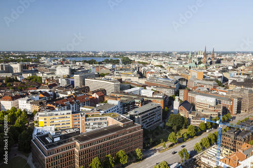 View over Hamburg, Germany to the Inner and Outer Alster