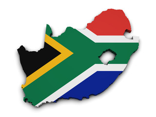 South Africa Flag Map Shape