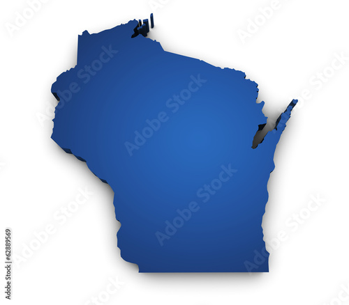 Map Of Wisconsin 3d Shape