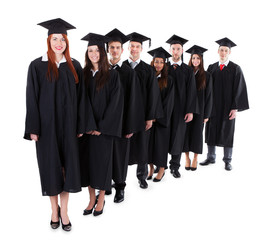 Graduate students standing in row
