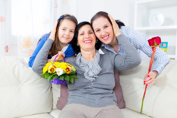 Grandmother, mother and daughter. Mothers's Day