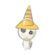 Cute characters with cone over white