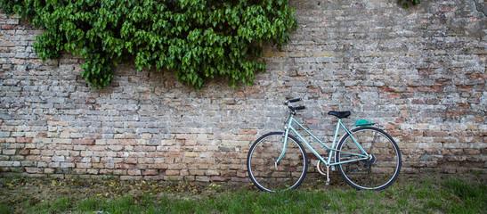Green Bike on Brick Wall