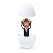 business monkey inside an egg