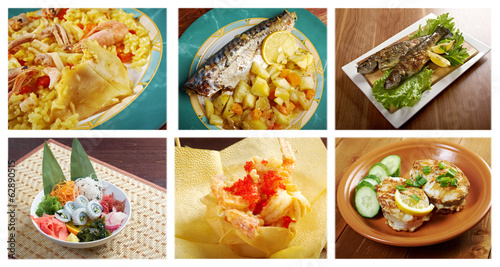 Food set of different  seafoods