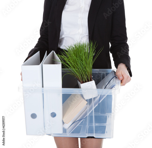 Young Businesswoman Holding Basket