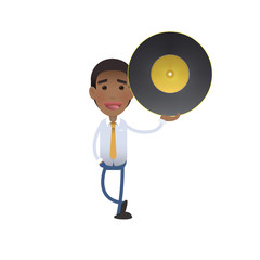 Businessman holding a vinyl over white background