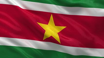 Flag of Suriname waving in the wind - seamless loop