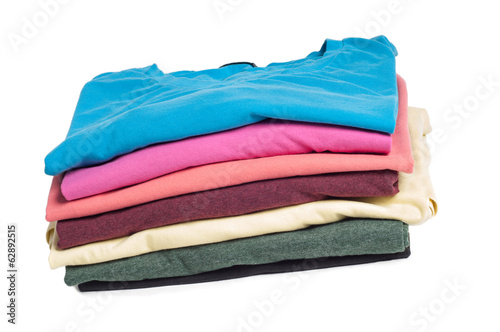 Multicolored clothes in pile
