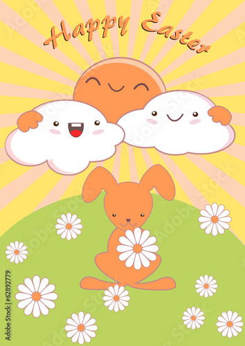 Happy Easter Kawaii Cute card with daisies and clouds