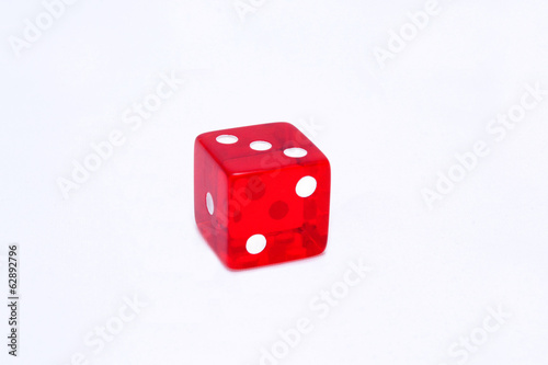 Red dice in white background