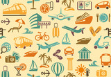 Seamless background with symbols of travel