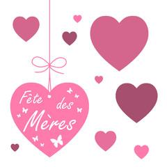ETIQUETTES COEURS FETE DES MERES (carte message fête des mères)