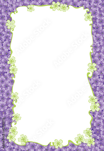 Floral border. Vector frame of  many spring flowers