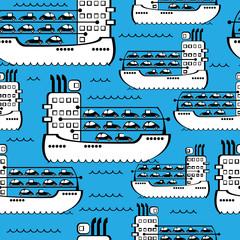 cargo ships seamless pattern
