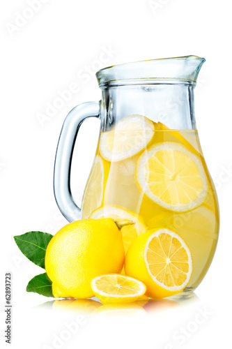 Lemonade pitcher with lemons