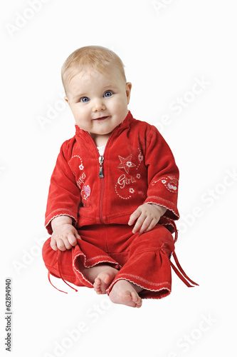baby in red isolated