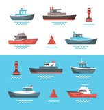 Vector illustration of boats