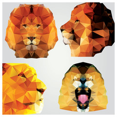 Collection of 4 geometric polygon lions, pattern design