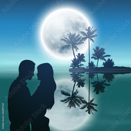 Sea at night. Island with palm trees, moon and couple.