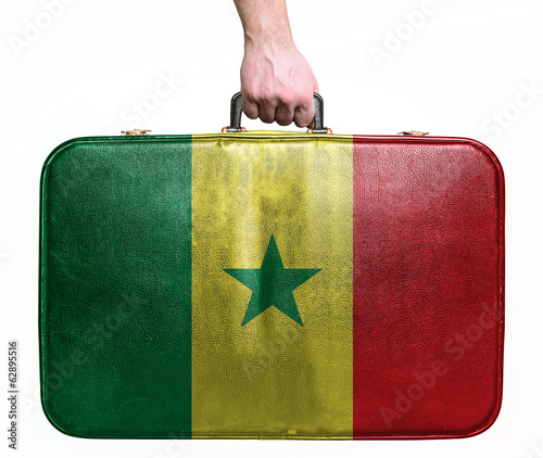Tourist hand holding vintage leather travel bag with flag of Sen
