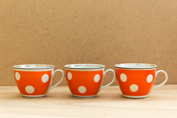 Retro cups with polka dot pattern