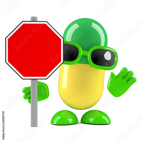 3d Pill roadworks sign