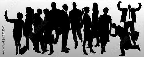 Vector silhouette of business people. - 62895987
