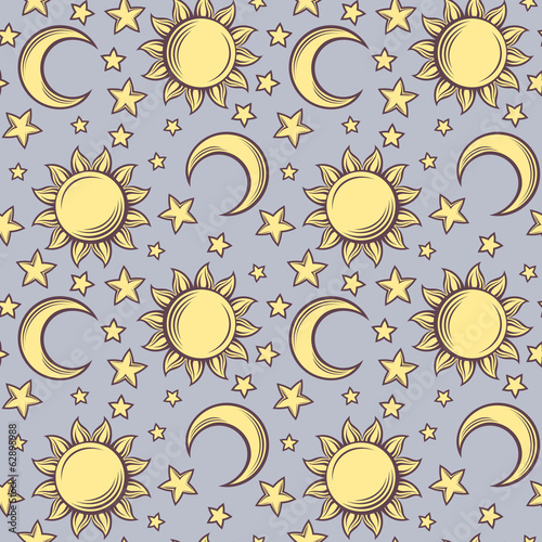 Seamless pattern with suns, moons and stars. Vector illustration