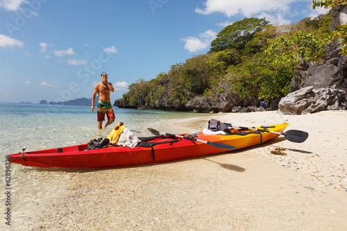 Sea kayak at the beach