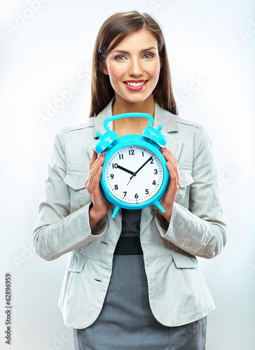 Business woman time concept portrait. White background