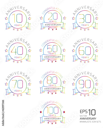 Set of color minimalistic anniversary icon set, isolated, vector
