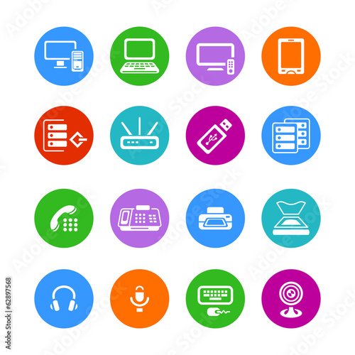 Metro-style flat round office electronics icons