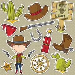 Cowboy With Wild West Objects