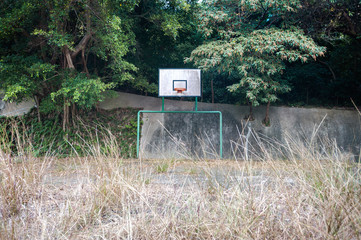 Overgrown basketball court, Hong Kong