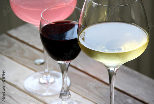 Mix glasses of red, rose and white wine