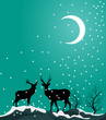 Deers in the Dark Snow